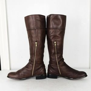 Coach 7.5 Brown Micha Leather Tall Boots